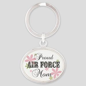 Air Force Mom [fl camo] Oval Keychain